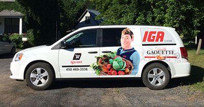 Lettrage de véhicule, publicité d'auto (IGA Gaouette) - Poirier Images et Lettres (imprimerie Montérégie)